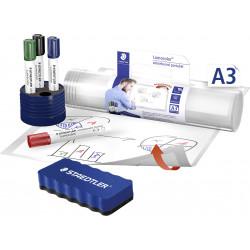 Staedtler Lumocolor Dry-Wipe Portable Whiteboard A3 Set