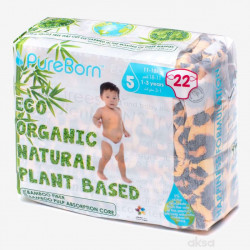 Pure Born - Organic Nappy Size 5, 11-18 Kg, 22 Nappies, Leopard