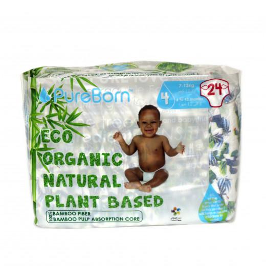 Pure Born - Organic Nappy Size 4, 7-12 Kg, 24 Nappies, Cactus