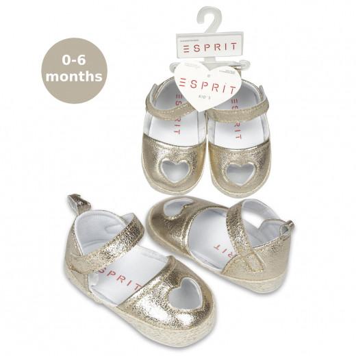 Gold M. Heart Keyhole Baby Shoe, 0-6 M
