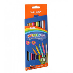 Y. Plus Rainbow Sharpener Triangular Double-Sided, Pack of 12- 24 Colors