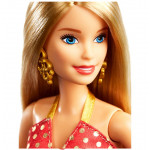 Barbie Holiday Doll with Red and Gold Dress, Blonde