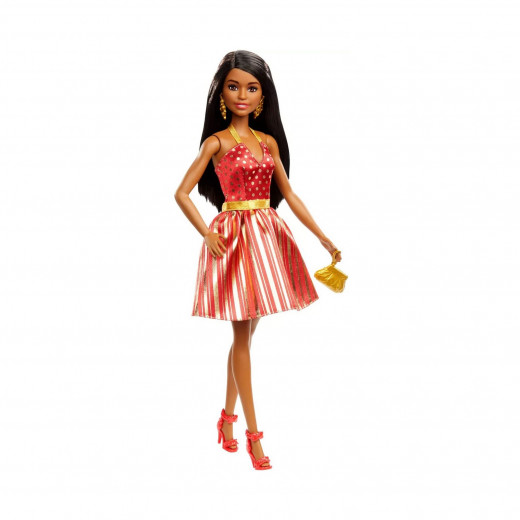 Barbie Holiday Doll with Red and Gold Dress, African American