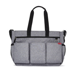 Skip Hop Diaper Bag Tote for Double Strollers with Matching Changing Pad, Duo Signature, Heather Grey