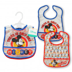 2 Pack Mickey Mouse Crumb Catcher Bib, Red&Blue