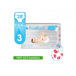 Pure Born - Organic Nappy Size 3, Kisses Print, 5.5-8 Kg, 28 Nappies