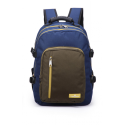Faber-Castell The Wanderer School 3 Compt Backpack, Dark Blue&Olive Green