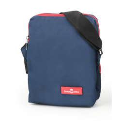 Faber Castell Insulated School Lunch Bag 2-Compartment, Dark Blue& Red Zipper