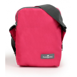 Faber Castell Insulated School Lunch Bag 2-Compartment,Pink & Grey Zipper