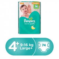 Pampers Baby-Dry Diapers, Size 4+, Maxi Plus, 9-16 kg, Mega Pack, 74 Count