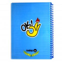 """دفتر ملاحظات مع سلك بتصميم كتابة """"أوك"""" اللون الأزرق من أميجو: 70 صفحة,2 أقسام"""