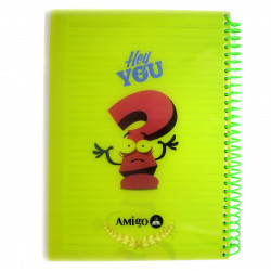 Amigo Hey you Wire Notebook, Green, 175 page, 5 subjects