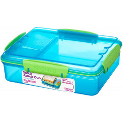 Sistema Lunch Snack Attack Duo, 975 ml, Assorted Colours - Blue