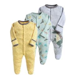 قطع ملابس طويلة الأكمام للأطفال  3 قطع في عبوة واحدة  0-3 أشهر من كالور لاند،بتصميم الديناصورات