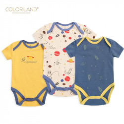 Colorland Baby Bodysuit 3 Pieces In One Pack 9-12 Months, Space