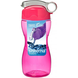 Sistema Hourglass Plastic Water Bottle, 475 ml, Pink