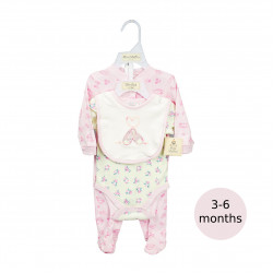 3 Pieces Pink Layette Set- 3-6 months