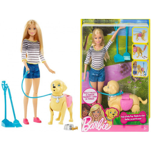 """Barbie """"Walk and Potty Pup"""" Doll"""