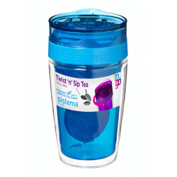 Sistema Twist Sip Tea To Go Travel Mug With Filter, Blue