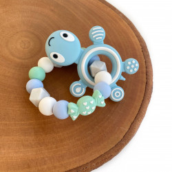 Munch Monsters Teething Ring & Teether, Blue Turtle