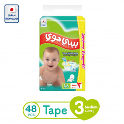 Baby Joy Diapers Medium Size 3, 6-12 kg, 48 Piece