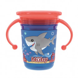 Nuby 360° Wonder Cup with 3D Sleeve - 240ml - 6m+, Blue