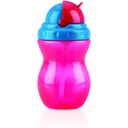 Nuby Flip-it Leakproof Straw Bottle (320ml), Pink