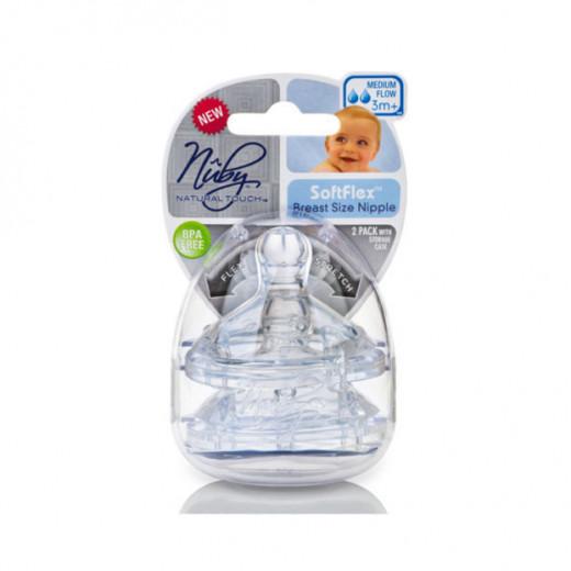 Nuby Natural Touch Bottle Nipples W/ Storage Case X2, +3 months Medium Flow