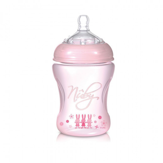 Nuby Natural Touch Softflex Polypropylene Feeding Bottle 3m+ 240 ml Pink