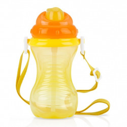 Nuby Flip-It Straw Cup With Strap - Yellow, 420ml