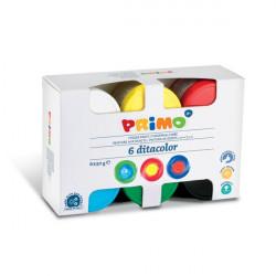 6 ألوان متنوعة للأصابع من بريمو 50 جرام أواني وفرشاة في العلبة