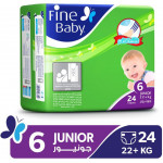 Fine Baby Diapers, Size 6, Junior +22 kg, Economy Pack of 24 diapers