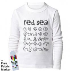 بلوزة ذات أكمام طويلة للتلوين  بتصميم البحر الأحمر للأطفال من عمر 7-8  سنوات من ملبس