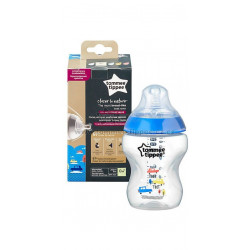 Tommee Tippee Closer to Nature Baby Bottle Decorated for Boy, 260ml