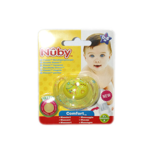 NUBY Classic Orthodontic Soother 0-6m - Yellow
