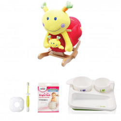 Farlin Package - ( aBaby - Emily Catapilar + Farlin PE-PA Plate + Farlin Cotton Buds 50 pcs + Farlin Training Toothbrush Stage 3)