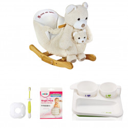 Farlin Package - ( aBaby - Cream bear + Farlin PE-PA Plate + Farlin Cotton Buds 50 pcs + Farlin Training Toothbrush Stage 3)