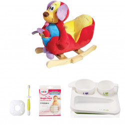 Farlin Package - ( aBaby - Happy Baby Poppy + Farlin PE-PA Plate + Farlin Cotton Buds 50 pcs + Farlin Training Toothbrush Stage 3)