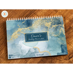 InterestinGadgets Personalized Monthly Planner for 2021, Marble