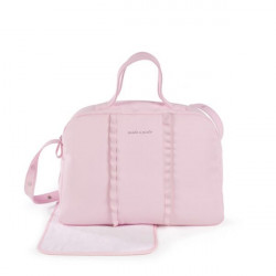Pasito a Pasito Nido pink faux leather pushchair bag with changing mat and frill