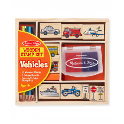 Melissa & Doug Wooden Stamp Set - Vehicles