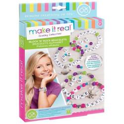 Make It Real Block 'N' Rock Alphabet Bracelets Pack Bracelet Making Kit