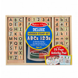 Melissa & Doug Deluxe Wooden ABC-123 Stamp Set