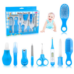 Newborn Baby Grooming Kit, 10 Pcs, Blue