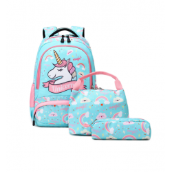 Genioworld 3pcs Students Unicorn Bookbag Set - Green