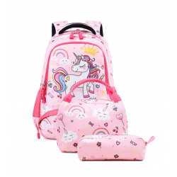 Genioworld 3pcs Students Unicorn Bookbag Set - Pink