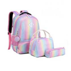 Genioworld 3pcs Students Unicorn Bookbag Set - Rainbow