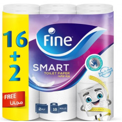 Fine Toilet Paper Extra Long 350 Sheets, 16+2 Free