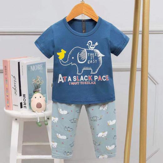 Half Sleeves T-Shirt & Lounge Pants Pajama Set, Take it Easy Design, 5 Years