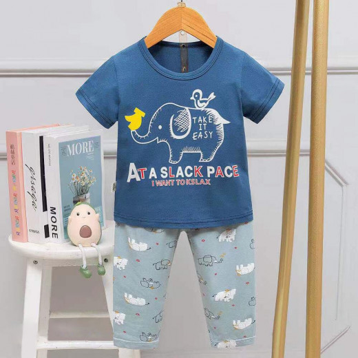 Half Sleeves T-Shirt & Lounge Pants Pajama Set, Take it Easy Design, 4 Years
